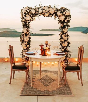 El Viento Santorini Wedding Venue dinner