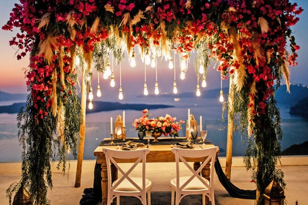 El Viento Santorini Wedding Venue night lights