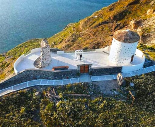 El Viento Santorini Wedding Venue aerial