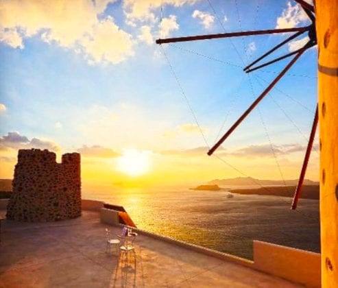 El Viento Santorini Wedding Venue sunset