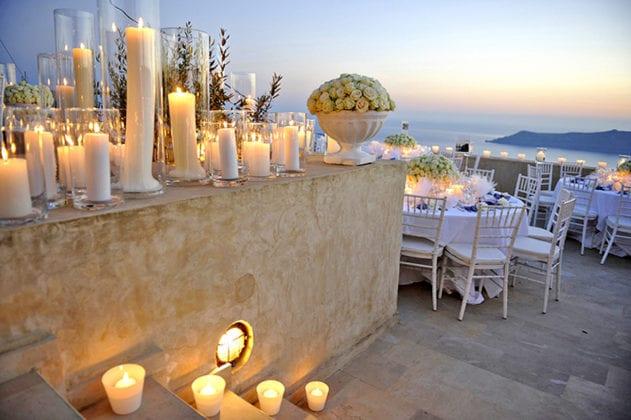 La Maltese Santorini Wedding Wedding Venue candles