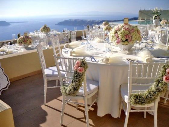 La Maltese Santorini Wedding Wedding Venue tables