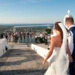 Santorini Wedding Pyrgos Restaurant Agia Fotini arrival