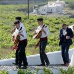 Santorini Wedding Pyrgos Restaurant Agia Fotini musicians