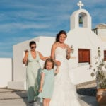 Santorini Wedding Pyrgos Restaurant Agia Fotini bridesmaids