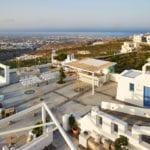Santorini Wedding Pyrgos Restaurant Agia Fotini gazebo aerial