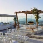 Santorini Wedding Pyrgos Restaurant Agia Fotini gazebo ceremony day