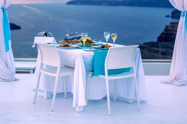 Santorini Gem Wedding Venue dinner