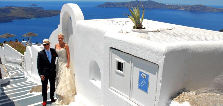 Santorini Weddings Bride and Father