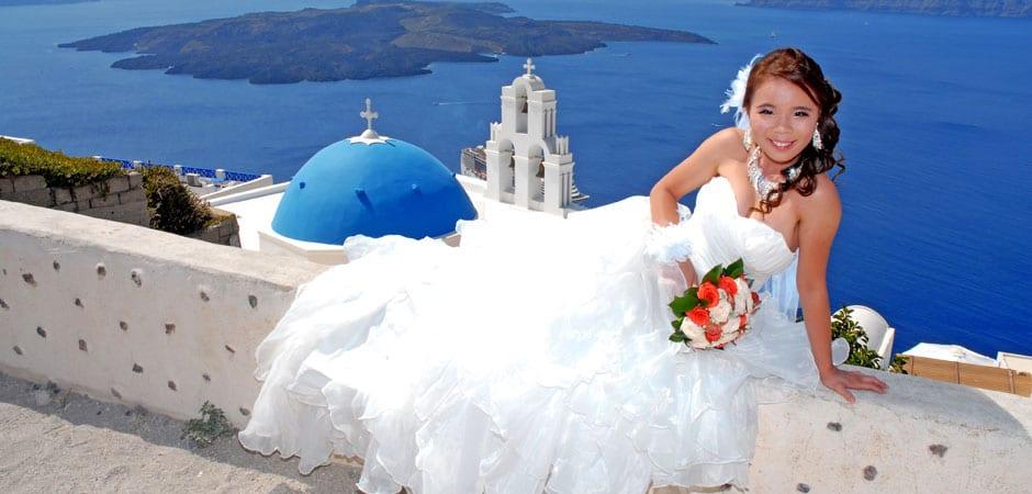 Santorini Weddings Bride in Blue Dome