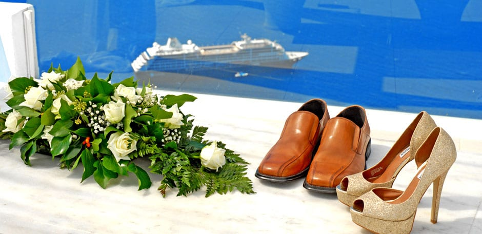 Santorini Weddings couple shoes