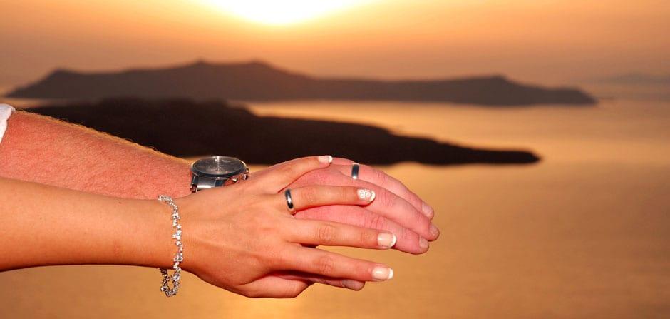 Santorini Weddings couple rings